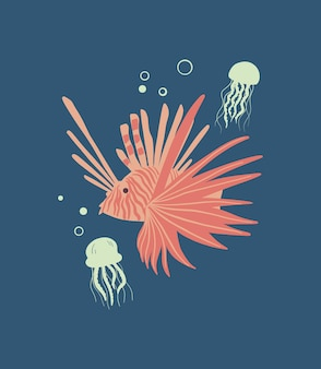 Vector sea life poster with jellyfishes and zebra lionfish. cartoon illustration