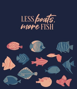 Векторный плакат морской жизни с буквами меньше лодок, больше рыб и тропических рыб