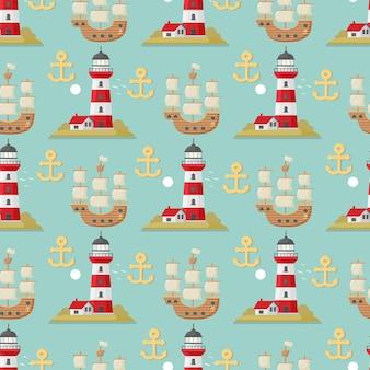 등대 앵커와 배 벡터 바다 원활한 패턴