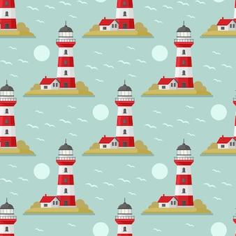 Бесшовный узор вектор море с маяком синий и белый бесшовный набор