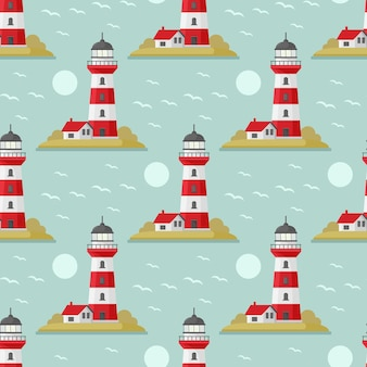 Vector sea seamless pattern with lighthouse blue and white seamless set