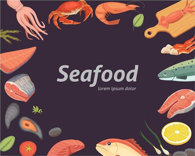 Векторные иллюстрации морепродуктов набор плоской свежей рыбы