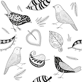 Вектор эксперты патерн каракули птица и листья на черном и белом.