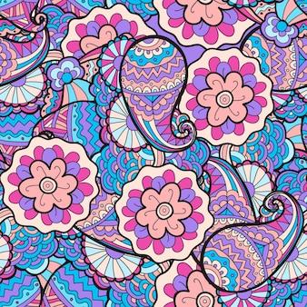 Вектор бесшовные абстрактный цветочный узор, ткань, фон. черно-белый, раскраски рисованной