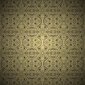벡터 원활한 아랍어 배경 패턴입니다. 금색과 검정색