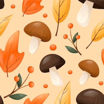Vector seamless autumn patter in warm colors. edible forest mushrooms and berries on twigs, a ripe apple and dry fallen leaves.