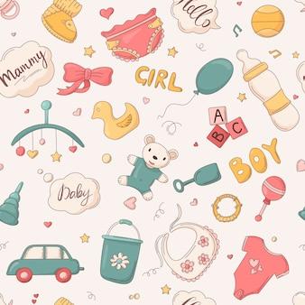 벡터 매끄러운 아기 패턴, 귀여운 액세서리, 신생아 및 어린이용 의류 품목.