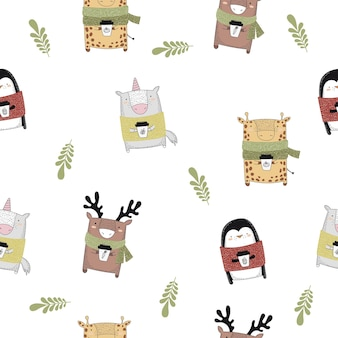 Vector seamless baby pattern with autunmn animals