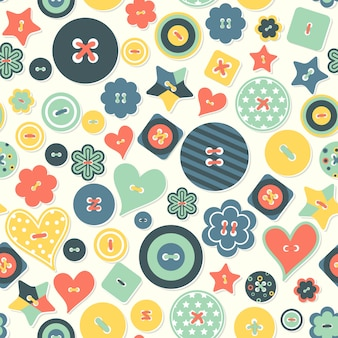 Vector seamless background of colored buttons different form.