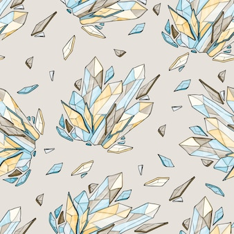 Vector seamless background of crystal or diamonds