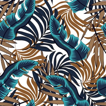 Vector seamless background design in tropical style. hawaiian exotic. summer print.