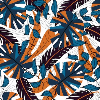 Vector seamless background design in tropical style. hawaiian exotic
