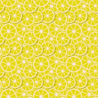 Вектор бесшовные фон свежие дольки лимона в плоский.