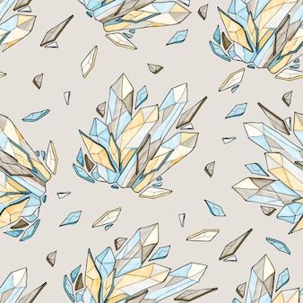 クリスタルやダイヤモンドのシームレスな背景をベクトル