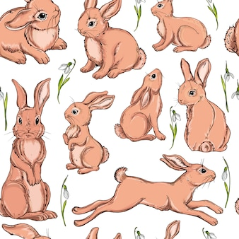 Vector seamless background with bunnies.