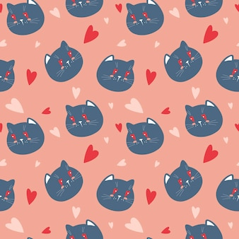 Vector seamless background with cats faces and hearts on a pink background pattern for valentine