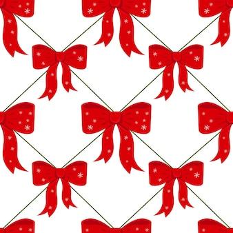 クリスマスの赤い弓とシームレスな背景をベクトルします。