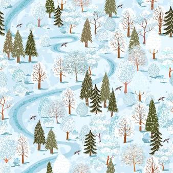 Вектор бесшовный фон с красочными иллюстрациями летний лесной пейзаж