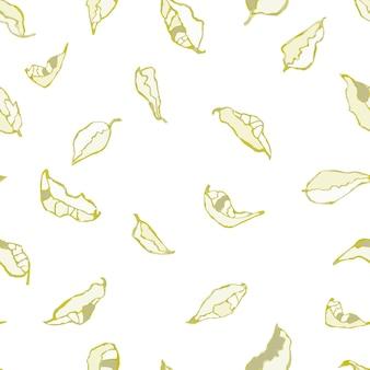 葉や植物のカラフルな水彩イラストとシームレスな背景をベクトルします。