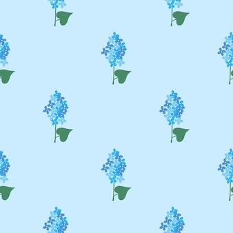 라일락 꽃 벡터 원활한 배경입니다. 섬유, 디자인, 포장을 위한 간단한 스프링 패턴 프리미엄 벡터