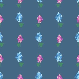 라일락 꽃 벡터 원활한 배경입니다. 섬유, 디자인, 포장을 위한 간단한 스프링 패턴