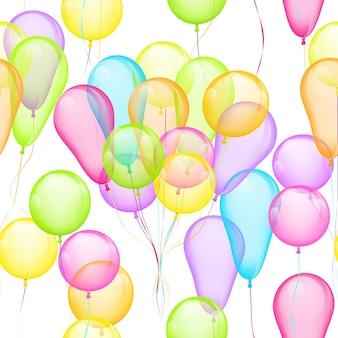 Вектор бесшовный фон с разноцветными воздушными шарами на белом