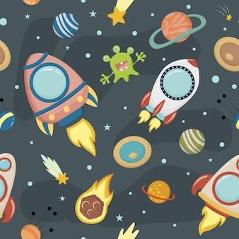 유치한 디자인에 대 한 로켓과 행성의 이미지와 벡터 원활한 배경. Eps 10. 프리미엄 벡터