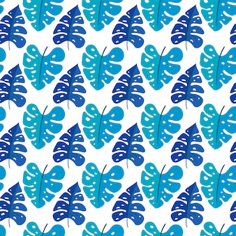 Vector seamless background with tropic plants. tropical leaves