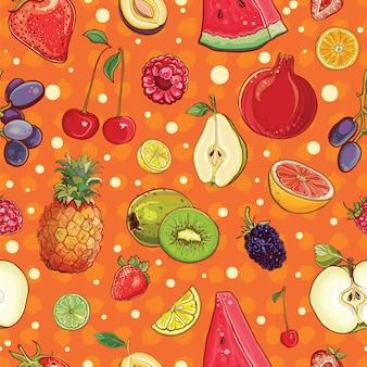 さまざまなフルーツとベリーのシームレスな背景のベクトル