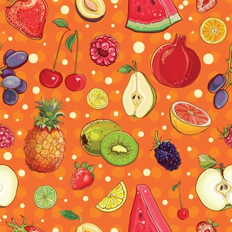 Vector seamless background with various fruits and berries
