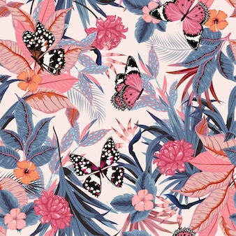 Vector seamless beautiful artistic bright tropical pattern