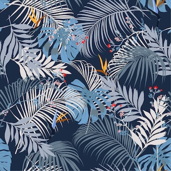 Vector seamless beautiful artistic summer tropical pattern