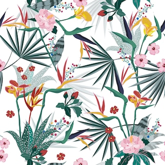Vector seamless beautiful bright tropical