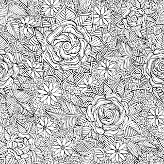 スパイラル、渦巻き、落書きのシームレスな黒と白のパターンをベクトル