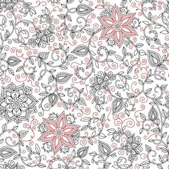Vector seamless black and red pattern of spirals, swirls, doodles