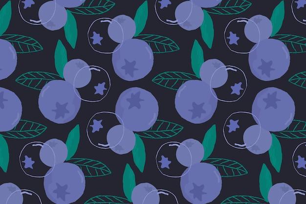 ベクトルのシームレスなブルーベリーパターン黒の背景