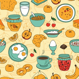 Vector seamless breakfast pattern