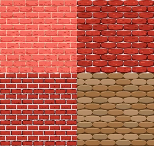 Вектор бесшовная кирпичная стена. реалистичная цветная текстура камня. орнаменты для интерьера в стиле лофт