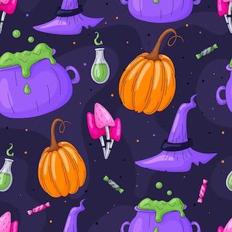 Вектор бесшовные мультфильм хэллоуин узор с тыквами, волшебными грибами, широкополой шляпой и котлом с зельем. коллекция элементов каракули.
