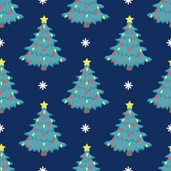 Vector seamless christmas tree pattern with red balloons and  bright yellow star