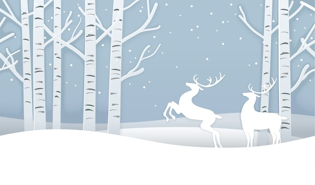 Vector seamless christmas winter forest