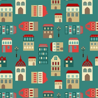 Vector seamless city pattern
