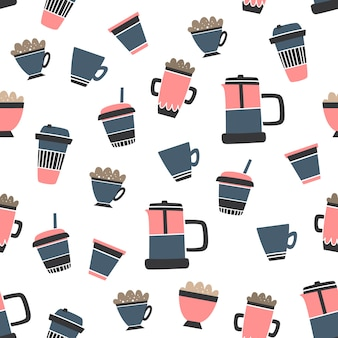 Vector seamless coffee pattern cartoon style