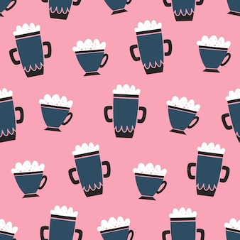 Vector seamless coffee pattern cartoon style