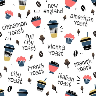 Vector seamless coffee pattern. objects and degree of roasting. doodle style