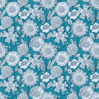 Vector seamless colorful floral pattern. hand drawn doodle flowers pattern