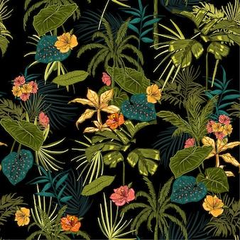 Вектор бесшовные темный тропический узор с экзотическим лесом.