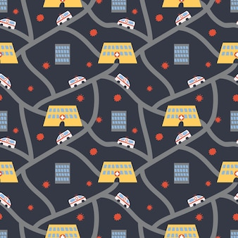 Vector seamless doctor pattern with hospital, road and ambulance on background with virus