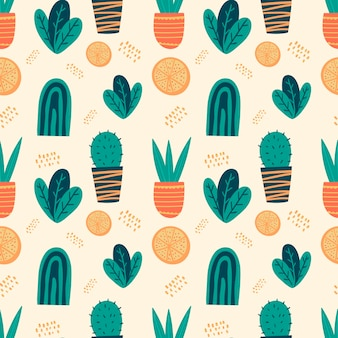 벡터 원활한 낙서 패턴입니다. 만화 재미 있고 귀여운 장식 요소입니다. 냄비에 꽃, 오 점 및 잎. 밝은 얼룩과 얼룩, 추상적인 모양. 배경 또는 포장지를 위한 장식입니다.
