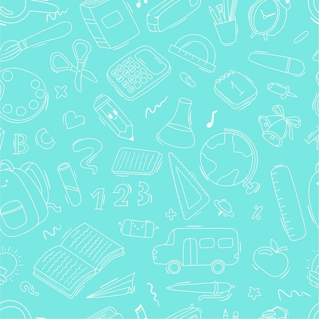 Vector seamless doodle pattern school and school supplies, stationery, books, backpacks, school bus. background decoration